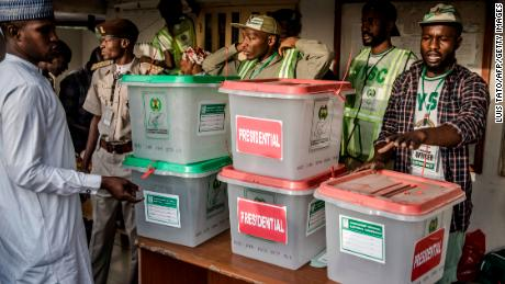 Electoral commission officers prepare ballot boxes in Adamawa State, Nigeria, during the presidential election in February.