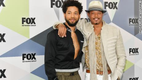 Actors Jussie Smollett, left , and Terrence Howard attend the 2018 Fox Network Upfront on May 14, 2018 in New York City.