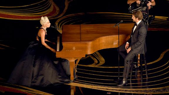 Lady Gaga and Bradley Cooper perform onstage during at the Oscars in February.
