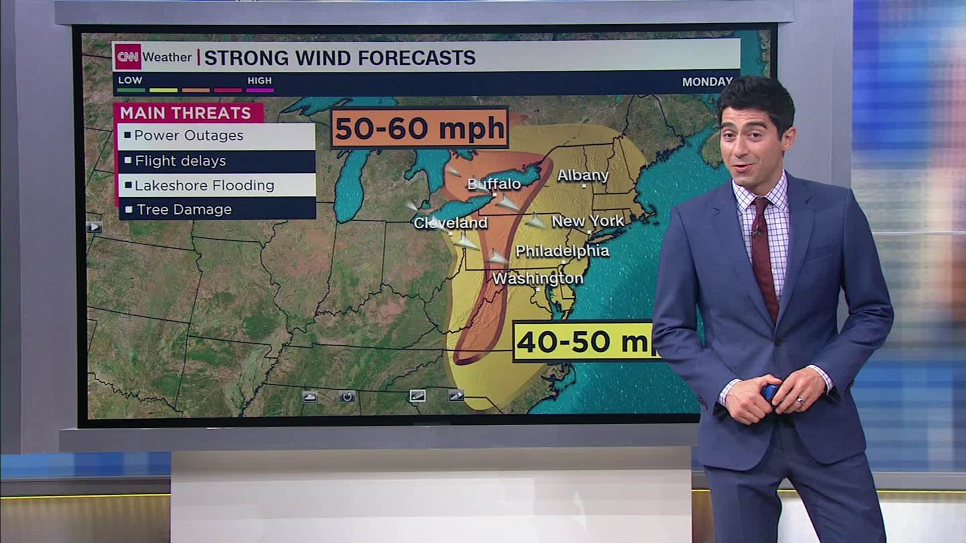 Weather Forecast For Extreme Winds In The Northeast Monday Cnn Video