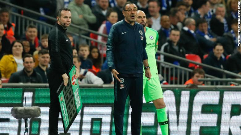 Maurizio Sarri was visibly furious on the touchline, storming down the Wembley tunnel before deciding to return.