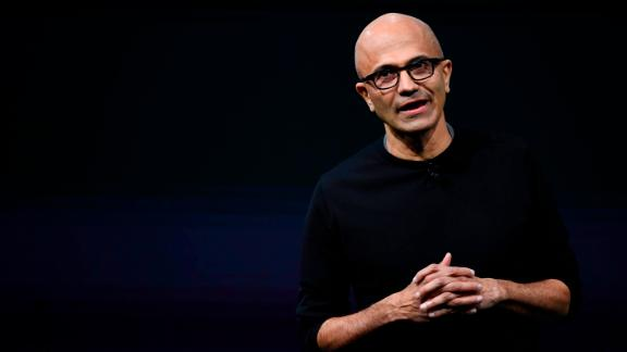 Chief Executive Officer of Microsoft, Satya Narayana Nadella speaks during a presentation at the Mobile World Congress (MWC), on the eve of the world's biggest mobile fair, on February 24, 2019 in Barcelona. - Phone makers will focus on foldable screens and the introduction of blazing fast 5G wireless networks at the world's biggest mobile fair starting tomorrow in Spain as they try to reverse a decline in sales of smartphones. (Photo by GABRIEL BOUYS / AFP)        (Photo credit should read GABRIEL BOUYS/AFP/Getty Images)
