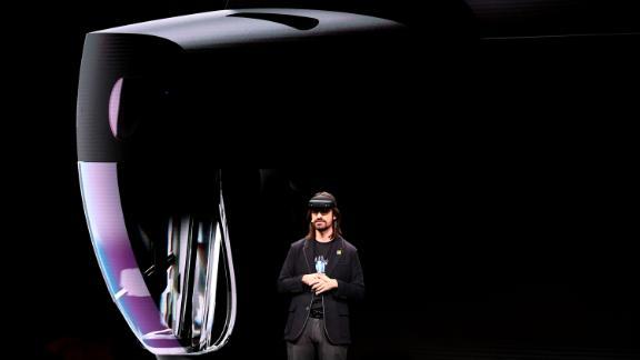 "Microsoft's technical fellow Alex Kipman reveals ""HoloLens 2"" during a presentation at the Mobile World Congress."