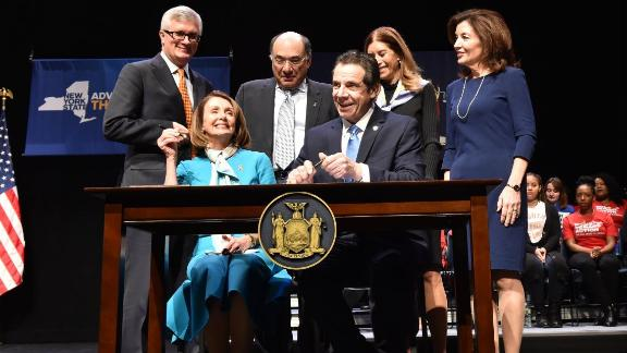 New York Governor Andrew Cuomo, joined by House Speaker Nancy Pelosi, signed a new