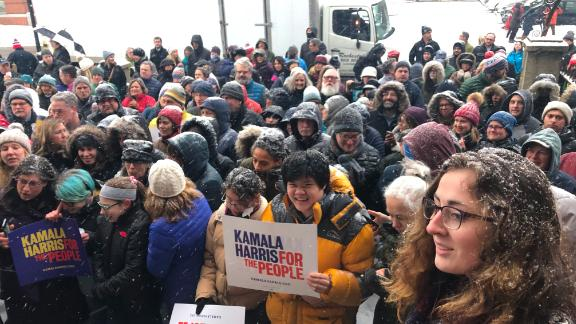 A crowd awaits Sen. Kamala Harris at a campaign stop in Portsmouth, New Hampshire.
