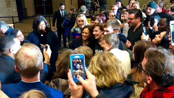 Voters try to get photos with Harris in Bettendorf, Iowa.