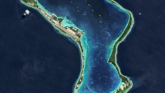 Diego Garcia, part of the British Indian Ocean Territory and the largest of the islands in the Chagos Archipelago. A UN court has ruled the UK must return the territory -- which hosts a major US military base -- to Mauritius.