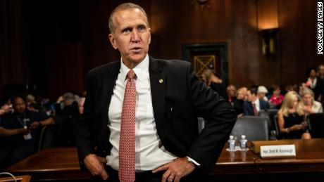 Sen. Thom Tillis before a congressional hearing in a September 27, 2018, file photo.