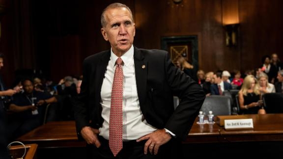 SEPTEMBER 27 - WASHINGTON, DC: Senator Thom Tillis before the hearing. Judge Brett M. Kavanaugh testified in front of the Senate Judiciary committee regarding sexual assault allegations at the Dirksen Senate Office Building on Capitol Hill Thursday, September 27, 2018. Blasey Ford, a professor at Palo Alto University and a research psychologist at the Stanford University School of Medicine, has accused Supreme Court nominee Brett Kavanaugh of sexually assaulting her during a party in 1982 when they were high school students in suburban Maryland. (Photo by Erin Schaff-Pool/Getty Images)