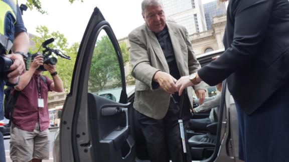 Pell arrives at court in Melbourne on Tuesday.