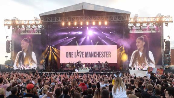 """Artists including Justin Bieber, Pharrell Williams, Oasis and Miley Cyrus performed at Grande's """"One Love Manchester"""" benefit concert in June 2017."""