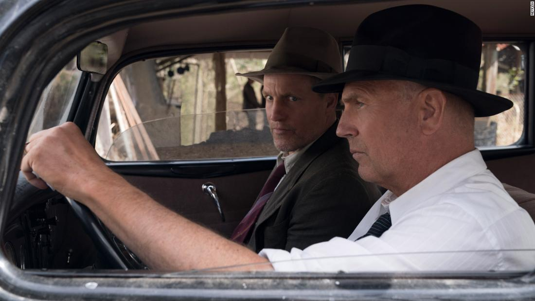 """""""The Highwaymen"""": Woody Harrelson  (Maney Gault) and Kevin Costner (Frank Hamer) star in this film that follows the  true story of the legendary detectives who brought down Bonnie and Clyde. (Netflix"""
