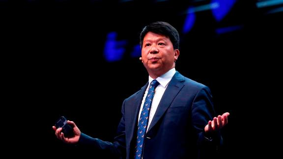 Huawei chairperson Guo Ping delivers a keynote speech at the Mobile World Congress (MWC) in Barcelona on February 26, 2019. - Phone makers will focus on foldable screens and the introduction of blazing fast 5G wireless networks at the world