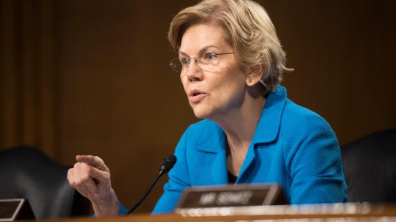 Sen. Elizabeth Warren, D-Mass., questions Federal Reserve Chairman Jerome Powell during hearing of the Senate Banking, Housing and Urban Affairs Committee on Tuesday, Feb. 26, 2019 in Washington. (AP Photo/Kevin Wolf)
