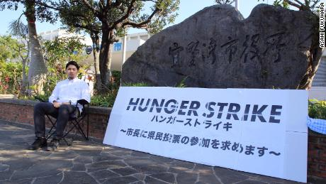 Jinshiro Motoyama read that hunger strike tactics were used by Okinawans while the prefecture was under the US rule.