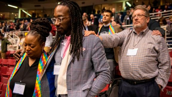 Delegates join in prayer during the 2019 Special Session of the General Conference of The United Methodist Church.