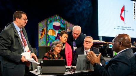 Leaders from the United Methodist Church confer during the 2019 Special Session of the General Conference of The United Methodist Church in St. Louis, Missouri, on February 26 2019.