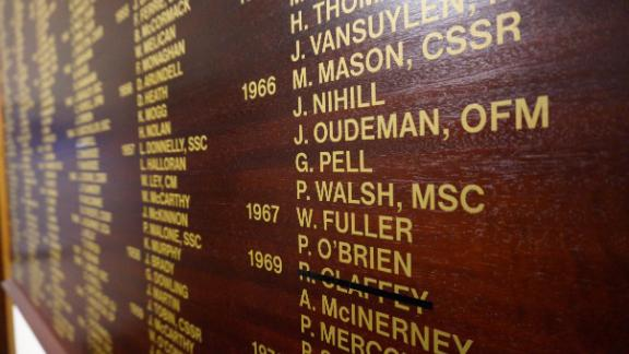 Cardinal George Pell's name on the honor boards of his old school in Ballarat, St Patrick's College. It will be struck off with a black line following his conviction.