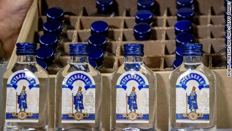 Picture shows vodka bottles that were seized by the customs authorities.