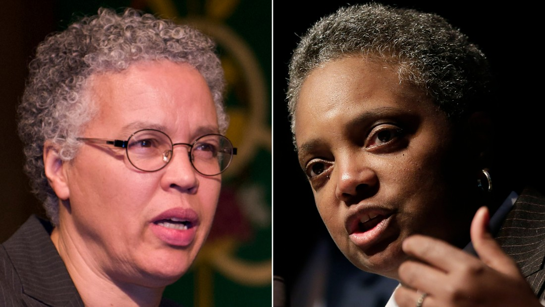 Toni Preckwinkle, left, and Lori Lightfoot face off in Tuesday's mayoral election in Chicago.