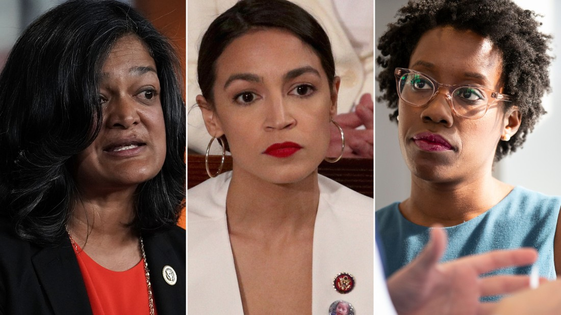 At left, Rep. Pramila Jayapal, a Washington Democrat and the leader of the Progressive Caucus, introduced a bill that would implement a Medicare for All system. It has divided the Democratic party, and many freshmen lawmakers are weighing in, such as Rep. Alexandria Ocasio-Cortez, at center, of New York, and Rep. Lauren Underwood of Illinois, at right.
