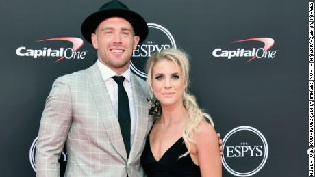 LOS ANGELES, CA - JULY 18:  NFL player Zach Ertz (L) and soccer player Julie Ertz attend The 2018 ESPYS at Microsoft Theater on July 18, 2018 in Los Angeles, California.  (Photo by Alberto E. Rodriguez/Getty Images)