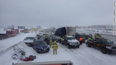 One person was killed and dozens taken to the hospital after Sunday's pileup on I-41 in Wisconsin.