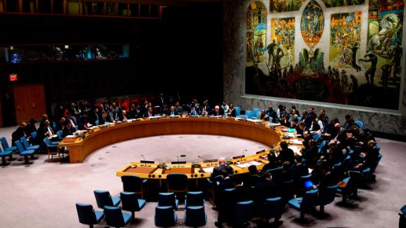 The United Nations Security Council meets on the Venezuelan crisis, on February 26, 2019 at the United Nations in New York City. (Photo by Johannes EISELE / AFP)        (Photo credit should read JOHANNES EISELE/AFP/Getty Images)