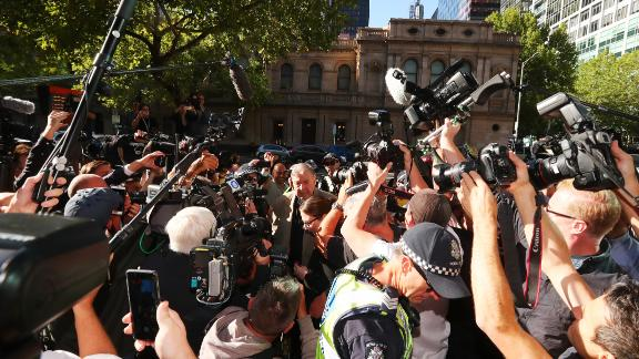 Cardinal Pell was surrounded by cameras as he arrived at court in Melbourne, Australia, Wednesday, February 27. He'll be sentenced on March 13.
