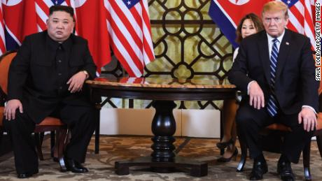 US President Donald Trump (R) holds a meeting with North Korea's leader Kim Jong Un during the second US-North Korea summit at the Sofitel Legend Metropole hotel in Hanoi on February 28, 2019. (Photo by SAUL LOEB / AFP)        (Photo credit should read SAUL LOEB/AFP/Getty Images)