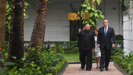 Trump with Kim at the Sofitel Legend Metropole hotel in Hanoi in February.
