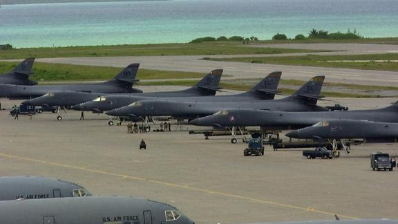 A row of B-1 bombers sits on the tarmac at the US base on Diego Garcia in 2001.