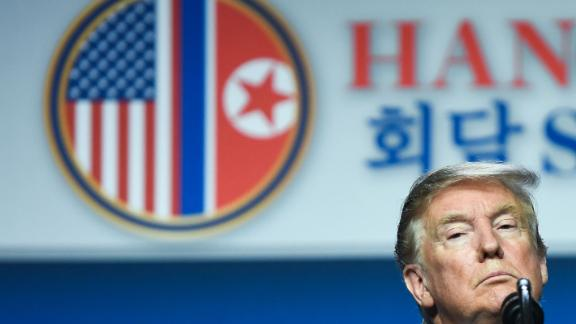 US President Donald Trump listens to a question at a press conference following the second US-North Korea summit in Hanoi on February 28, 2019. - The nuclear summit between US President Donald Trump and Kim Jong Un in Hanoi ended without an agreement on February 28, the White House said after the two leaders cut short their discussions. (Photo by Saul LOEB / AFP)        (Photo credit should read SAUL LOEB/AFP/Getty Images)