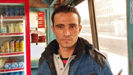 Abdel Rahman spent the night after the accident in his kiosk.