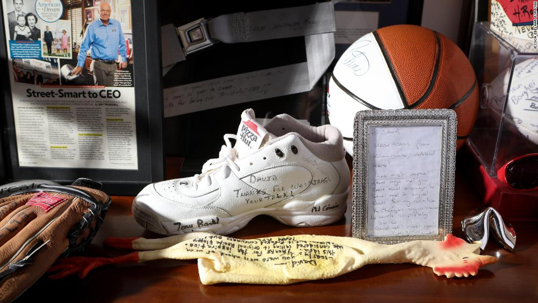 Items gifted to Novak are seen in his office at Yum!'s headquarters.