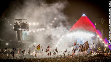 Thousands of festival-goers watch Foo Fighters perform at Glastonbury in 2017.
