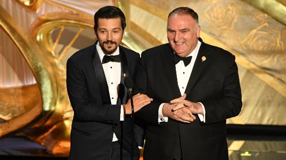 Mexican actor Diego Luna and Chef Jose Andres (L) during the 91st Annual Academy Awards at the Dolby Theatre in Hollywood, California on February 24, 2019.