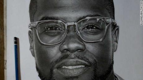 An image of Kevin Hart drawn by Nigerian pencil artist Eli Waduba