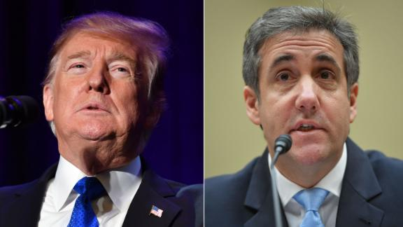 LEFT: US President Donald Trump speaks at the Major County Sheriffs and Major Cities Chiefs Association Joint Conference in Washington, DC, on February 13, 2019.  RIGHT: Michael Cohen, US President Donald Trump's former personal attorney, testifies before the House Oversight and Reform Committee in the Rayburn House Office Building on Capitol Hill in Washington, DC on February 27, 2019.