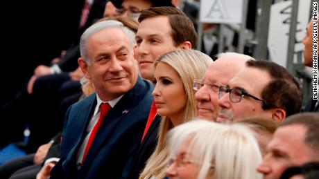TOPSHOT - Israel's Prime Minister Benjamin Netanyahu (L), Senior White House Advisor Jared Kushner (C-R), US President's daughter Ivanka Trump (3rd R), US Treasury Secretary Steve Mnuchin (R) and Israel's President Reuven Rivlin (2nd R) attend the opening of the US embassy in Jerusalem on May 14, 2018. - The United States moved its embassy in Israel to Jerusalem after months of global outcry, Palestinian anger and exuberant praise from Israelis over President Donald Trump's decision tossing aside decades of precedent. (Photo by MENAHEM KAHANA / AFP)        (Photo credit should read MENAHEM KAHANA/AFP/Getty Images)