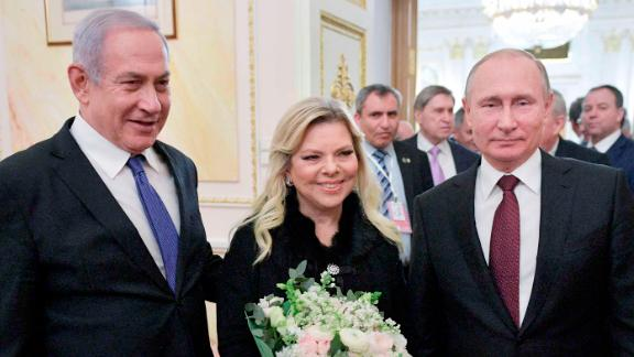 Netanyahu and his wife, Sara, pose for a photo with Russian President Vladimir Putin after talks in Moscow in February 2019.