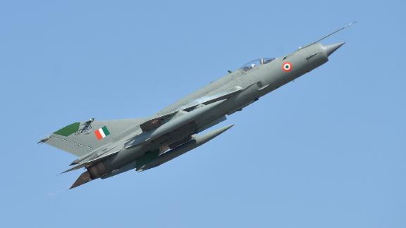 An Indian Air Force MIG-21 performs at an airshow in February 2019.