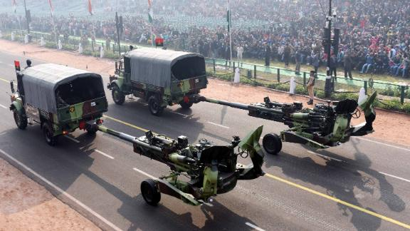 Indian M777 howitzers are displayed during a rehearsal for the Republic Day Parade on January 23, 2019, in New Delhi, India. The guns are top-line US technology, analysts say.