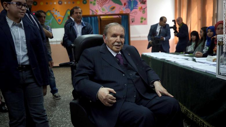 President Abdelaziz Bouteflika, here in a wheelchair, votes in 2017 parliamentary elections in Algiers.
