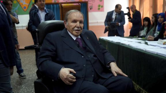 Algerian President Abdelaziz Bouteflika pictured in a wheelchair while casting a vote during the parliamentary elections of 2017.