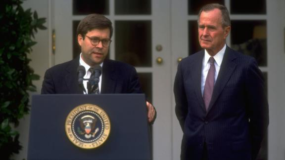 Pres. Bush (R) listening to Dep. Atty. Gen. William Barr at WH portico ceremony announcing Dep.'s nomination to succeed Atty. Gen. Thornburgh.  (Photo by Dirck Halstead/The LIFE Images Collection/Getty Images)