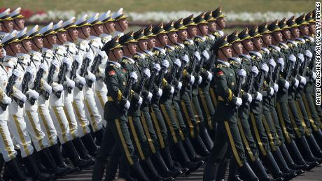 Chinese troops march during a military parade on Pakistan Day on March 23, 2018 in Islamabad 7.