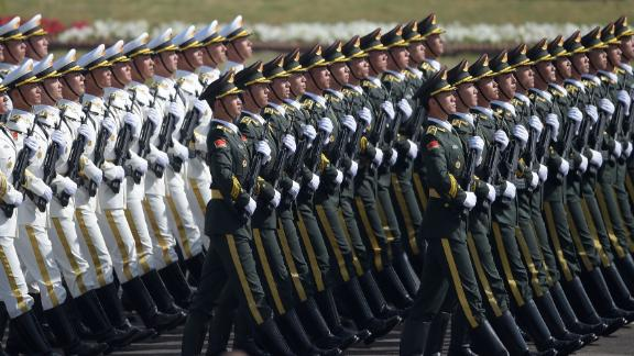 Chinese troops march during a Pakistan Day military parade in Islamabad on March 23, 2017.