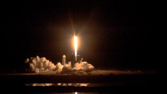 A two-stage SpaceX Falcon 9 rocket lifts off from Launch Complex 39A at NASA