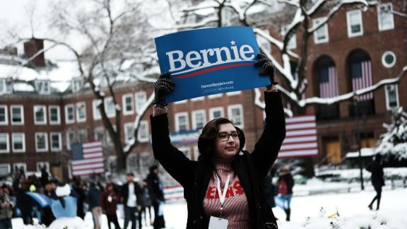 Supporters of Democratic Presidential candidate Senator Bernie Sanders (I-VT) rally before he speaks at Brooklyn College on March 02, 2019 in New York City. Sanders, a staunch liberal and critic of President Donald Trump, is holding his first campaign rally of the 2020 campaign for the Democratic Party's presidential nomination in his home town of Brooklyn, New York.